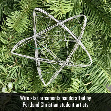 Wire star ornaments handcrafted by Portland Christian student artists