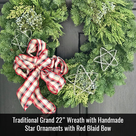 Traditional Grand 22 inch Mixed Wreath with Handmade Star Ornaments and Red Plaid Bow